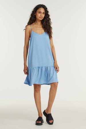 jurk Janie van gerecycled polyester lichtblauw