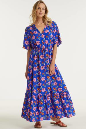 maxi jurk in bloemenprint blauw/roze