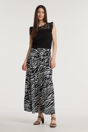rok met zebraprint zwart/wit