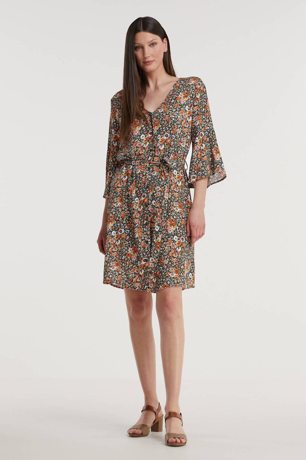 Imagine jurk met bloemenprint zwart/multi, Zwart/rood/oranje/multi