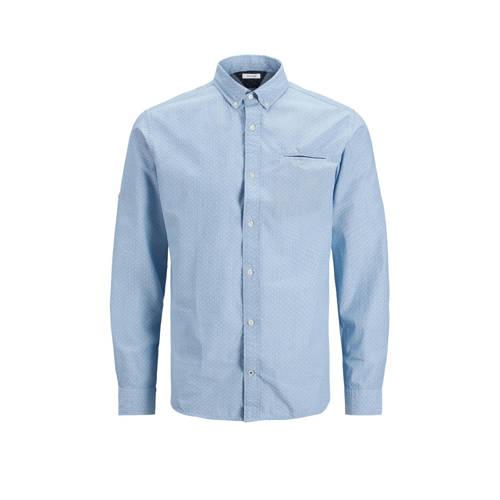 JACK & JONES ESSENTIALS slim fit overhemd Thomas met all over print blauw