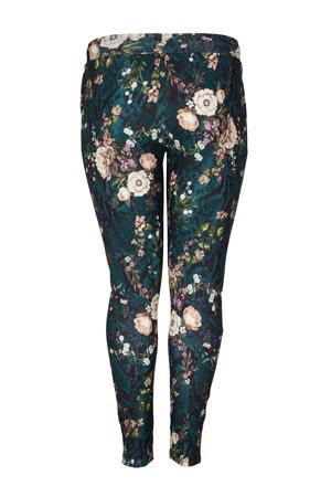 gebloemde slim fit pantalon EDITH donkergroen/lichtroze/zwart