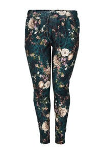 Zoey gebloemde slim fit pantalon EDITH donkergroen/lichtroze/zwart, Donkergroen/lichtroze/zwart