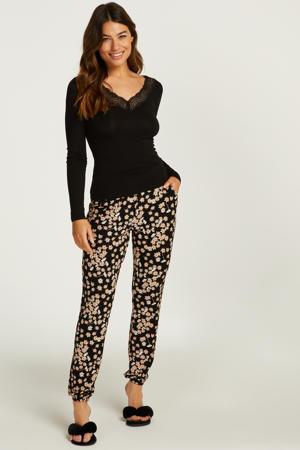 pyjama met bloemen zwart/ecru