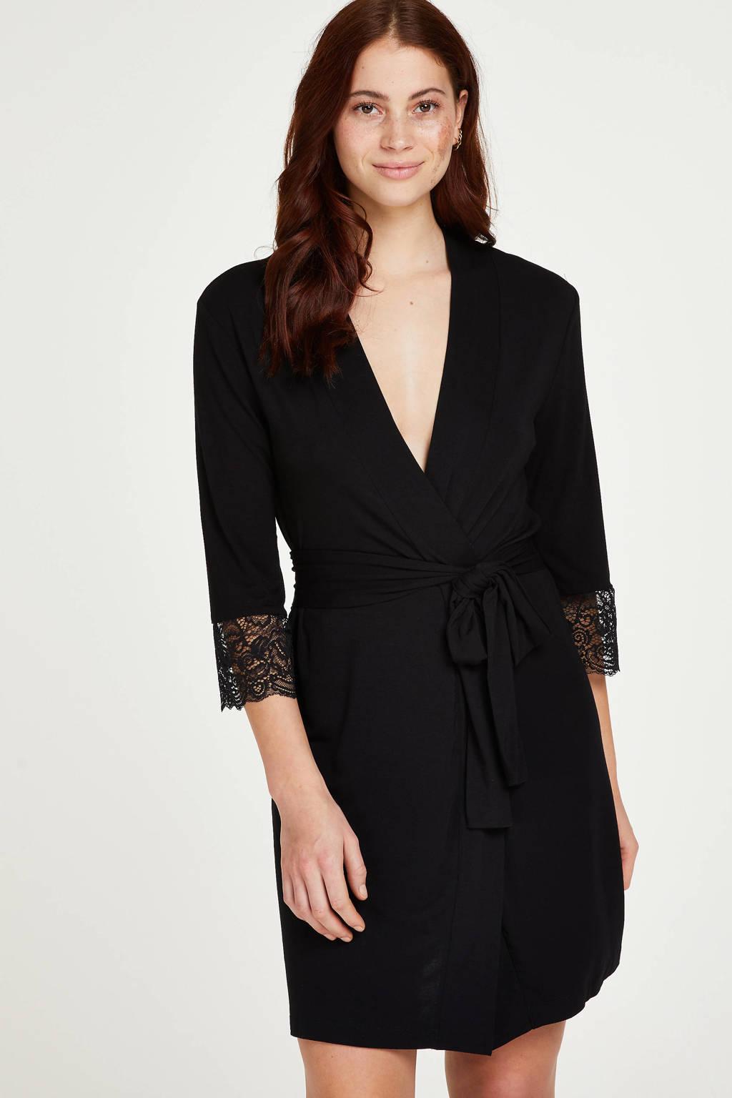 Hunkemöller jersey kimono Vera Lace zwart, Zwart
