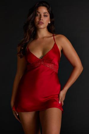 satijnlook slipdress Nina rood
