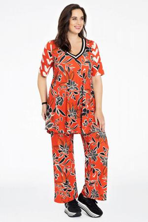 gebloemde straight fit broek rood/zwart/grijs