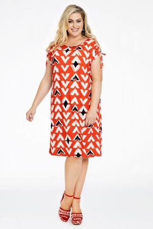 jurk met all over print en ruches rood/zwart/ecru