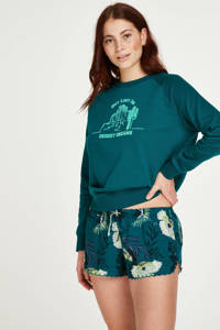 Hunkemöller pyjamashort Lotus Bird met all over print groen, Groen