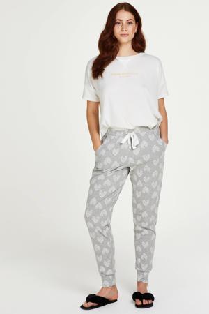pyjamabroek met hartjes print grijs/wit
