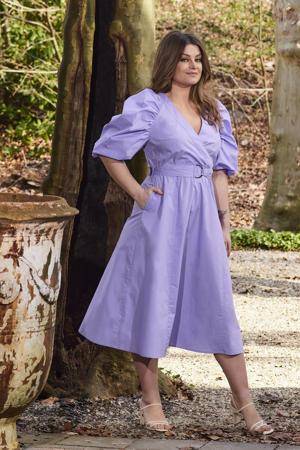 katoenen jurk met pofmouw lavendel