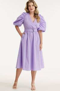 Miljuschka by Wehkamp katoenen jurk met pofmouw lavendel, Lavendel
