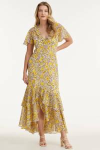 Miljuschka by Wehkamp jurk met bloemenprint ecru/geel/lavendel, Ecru/geel/lavendel