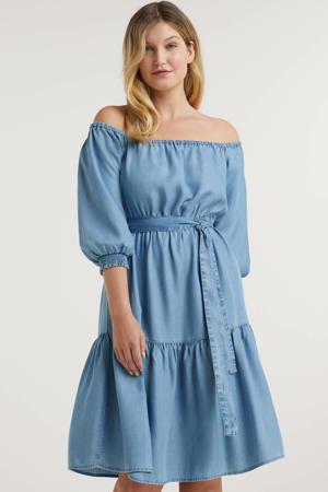 on-off shoulder jurk tencel blauw