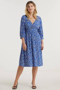 Miljuschka by Wehkamp jurk met millefleur print blauw, Blauw/wit