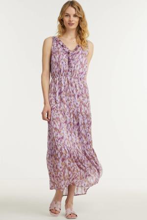 maxi jurk Cera met all over print en ruches paars