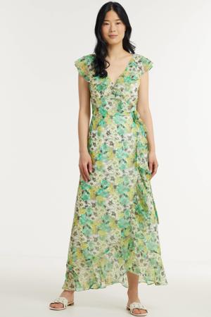 gebloemde maxi jurk lichtgroen