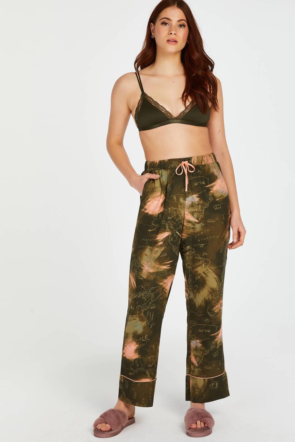 Hunkemöller pyjamabroek met all over print groen, Groen