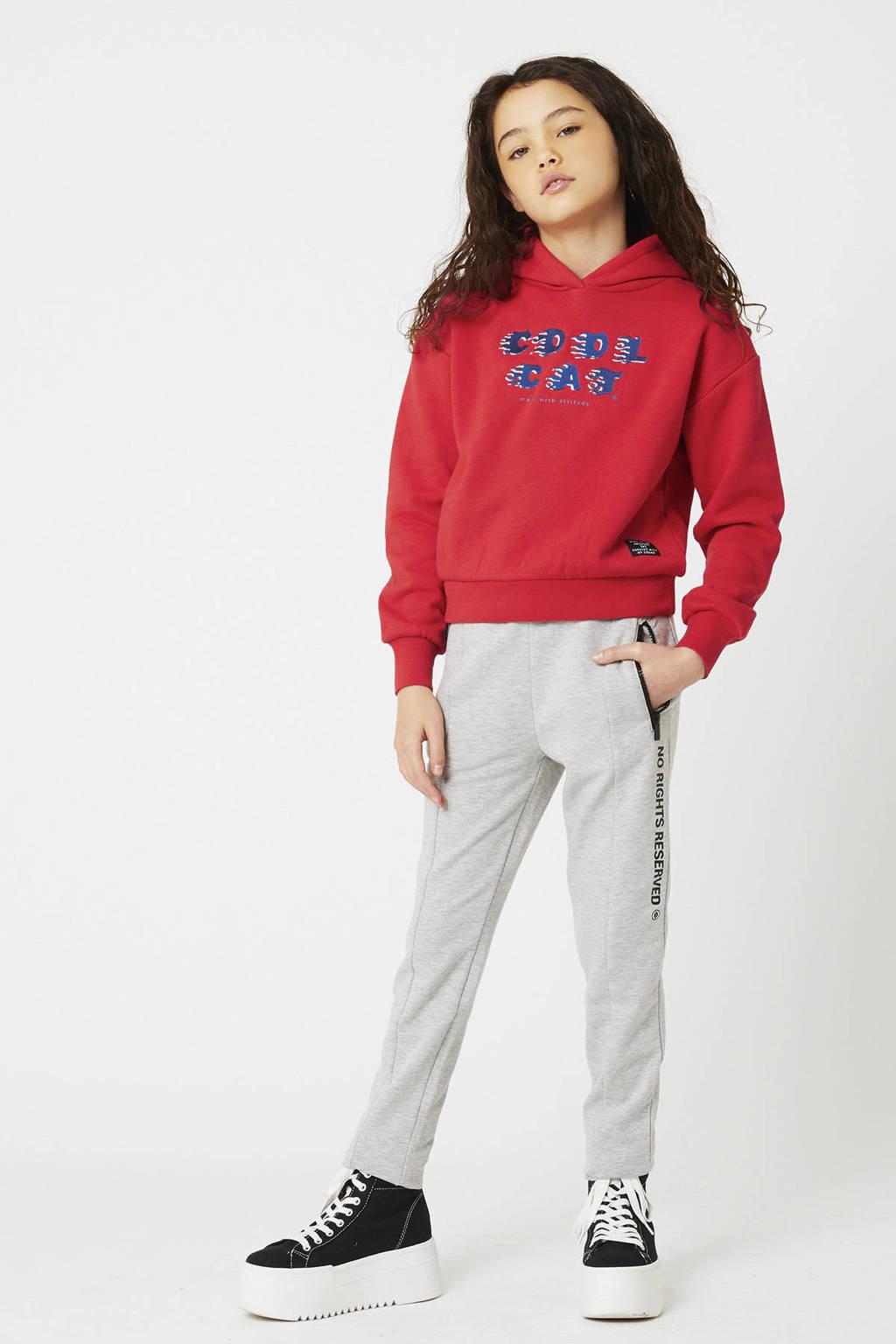 CoolCat Junior hoodie Stacie met tekst chili rood, Chili rood