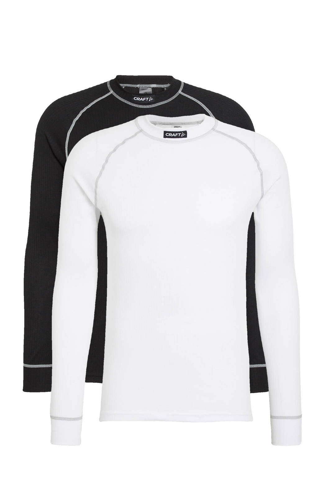Craft thermoshirt zwart/wit (set van 2), Zwart/wit