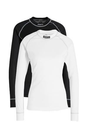 thermoshirt zwart/wit (set van 2)