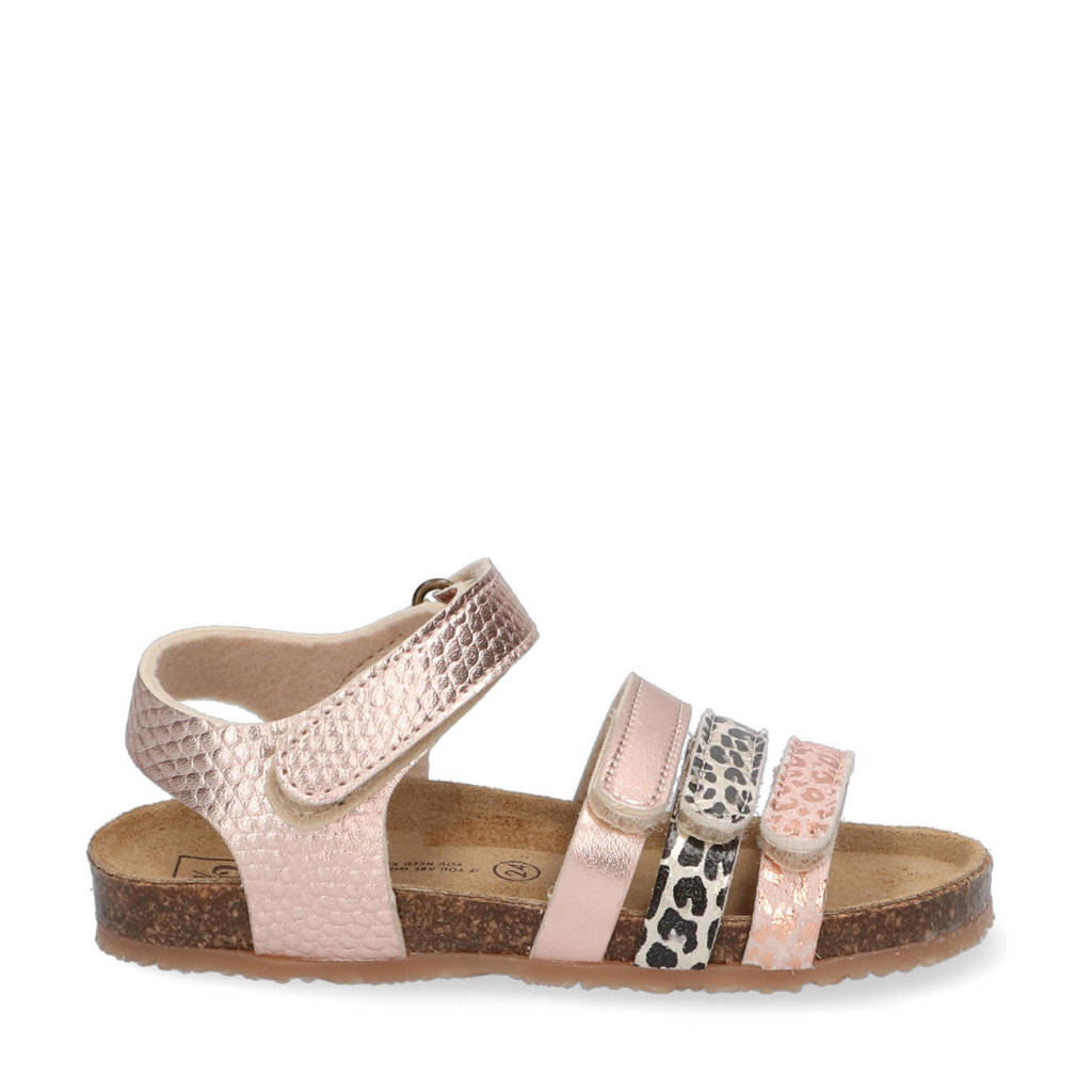 Est. 1842   sandalen met panterprint roségoud