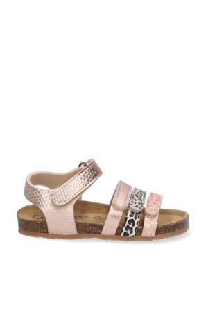 sandalen met panterprint roségoud