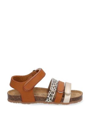 sandalen met panterprint cognac