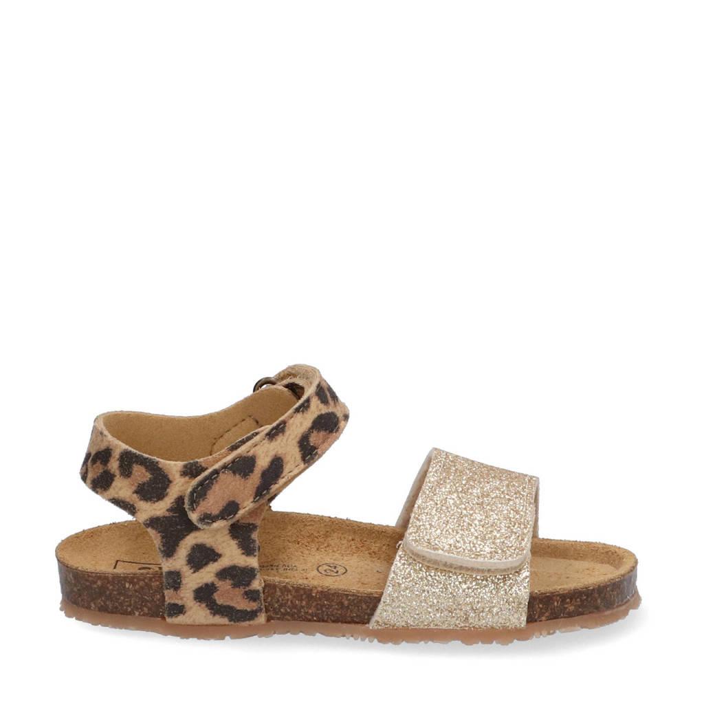 Est. 1842   sandalen met panterprint bruin/goud, Bruin/goud