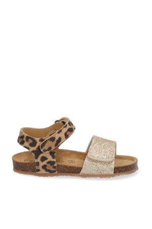 sandalen met panterprint bruin/goud