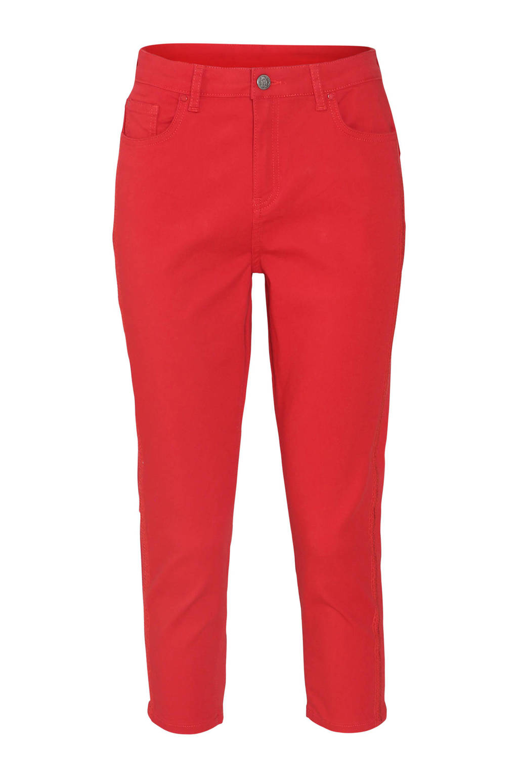 Cassis cropped regular fit broek met pailletten rood, Rood