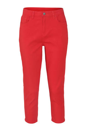 cropped regular fit broek met pailletten rood