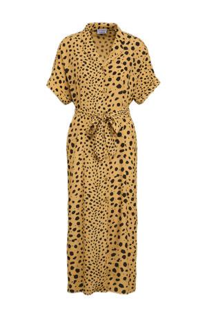 blousejurk Sunny Spots met stippen en ceintuur beige/ zwart