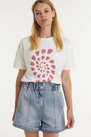 T-shirt Rolling Stones Twister van biologisch katoen gebroken wit