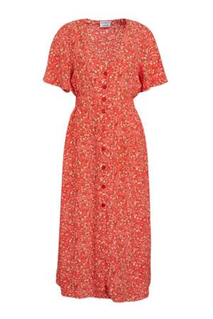 gebloemde jurk Rose Garden koraalrood