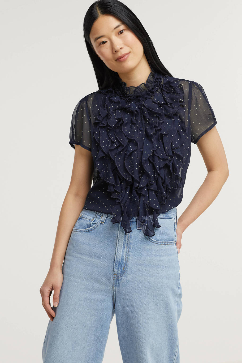 Saint Tropez semi-transparante blouse Lilly met stippen en ruches donkerblauw, Donkerblauw