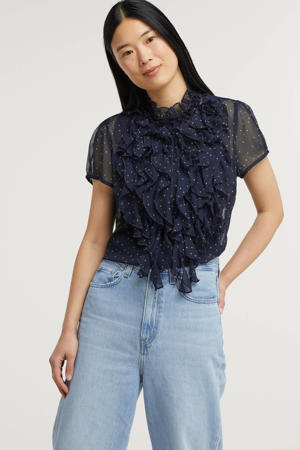 semi-transparante blouse Lilly met stippen en ruches donkerblauw