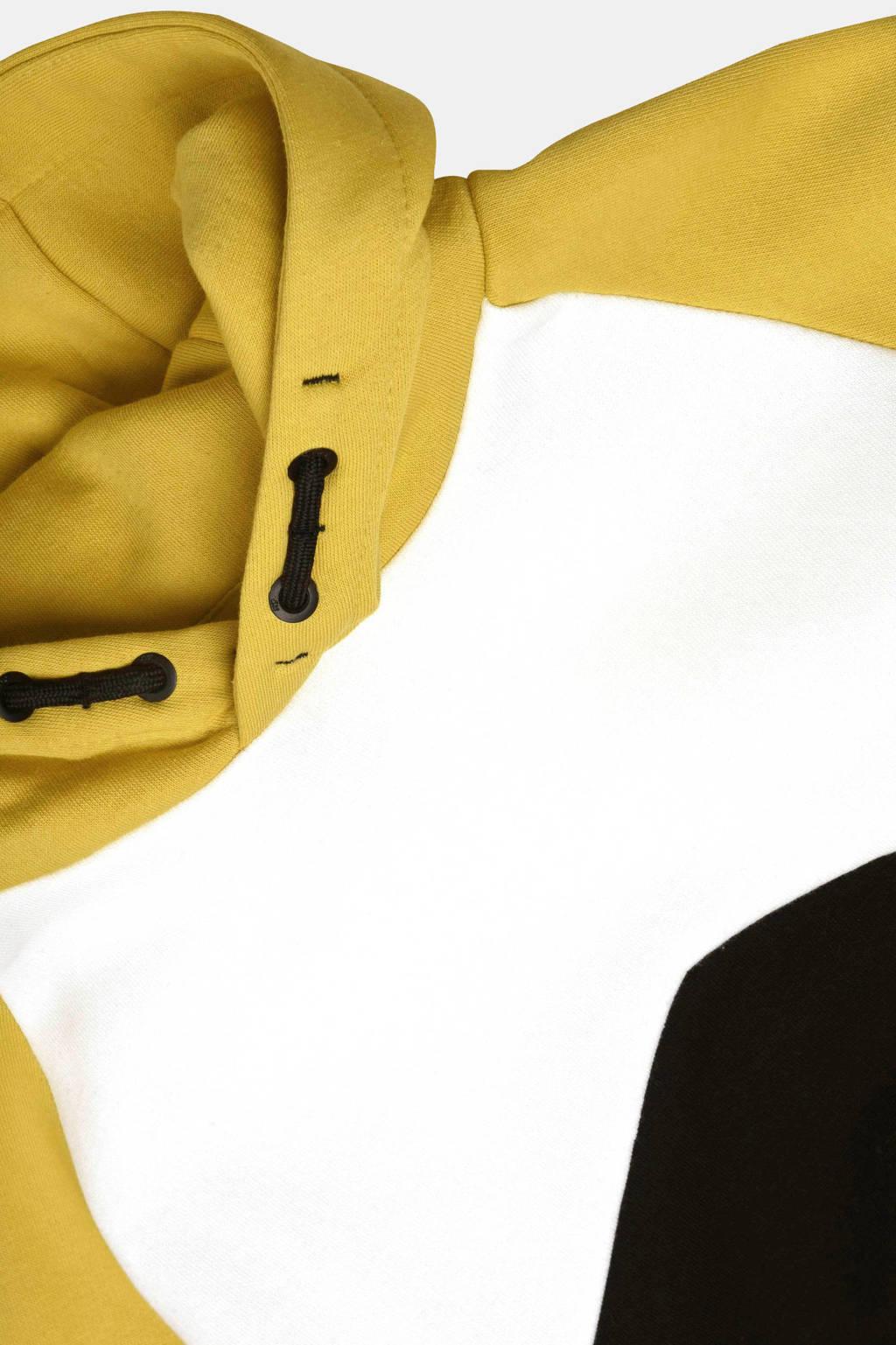 Jill & Mitch by Shoeby hoodie Alexander mosterdgeel/zwart/wit, Mosterdgeel/zwart/wit