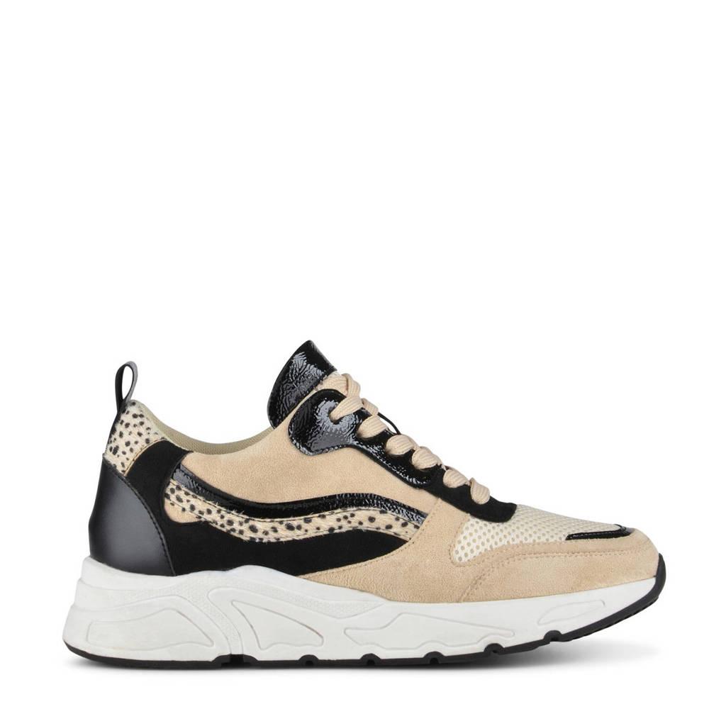 PS Poelman Carocel  chunky sneakers beige/zwart, Beige/zwart