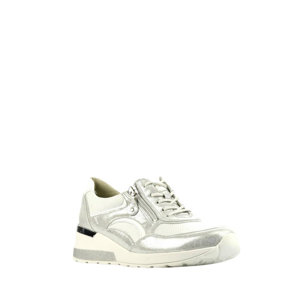 Waldlaufer 939011 comfort leren veterschoenen wit, Wit/zilver