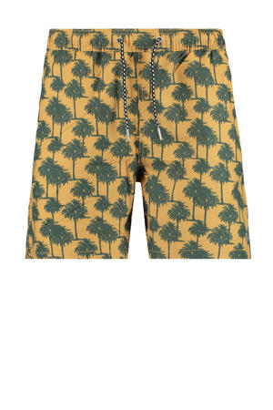 zwemshort Arizona met all over print okergeel/groen