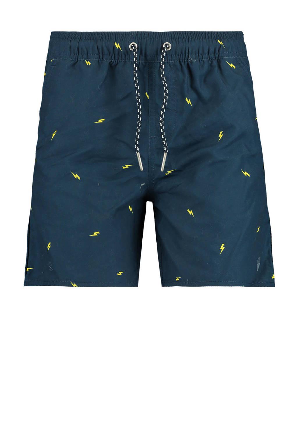 America Today Junior zwemshort Wilu met all over print donkerblauw, Donkerblauw/geel