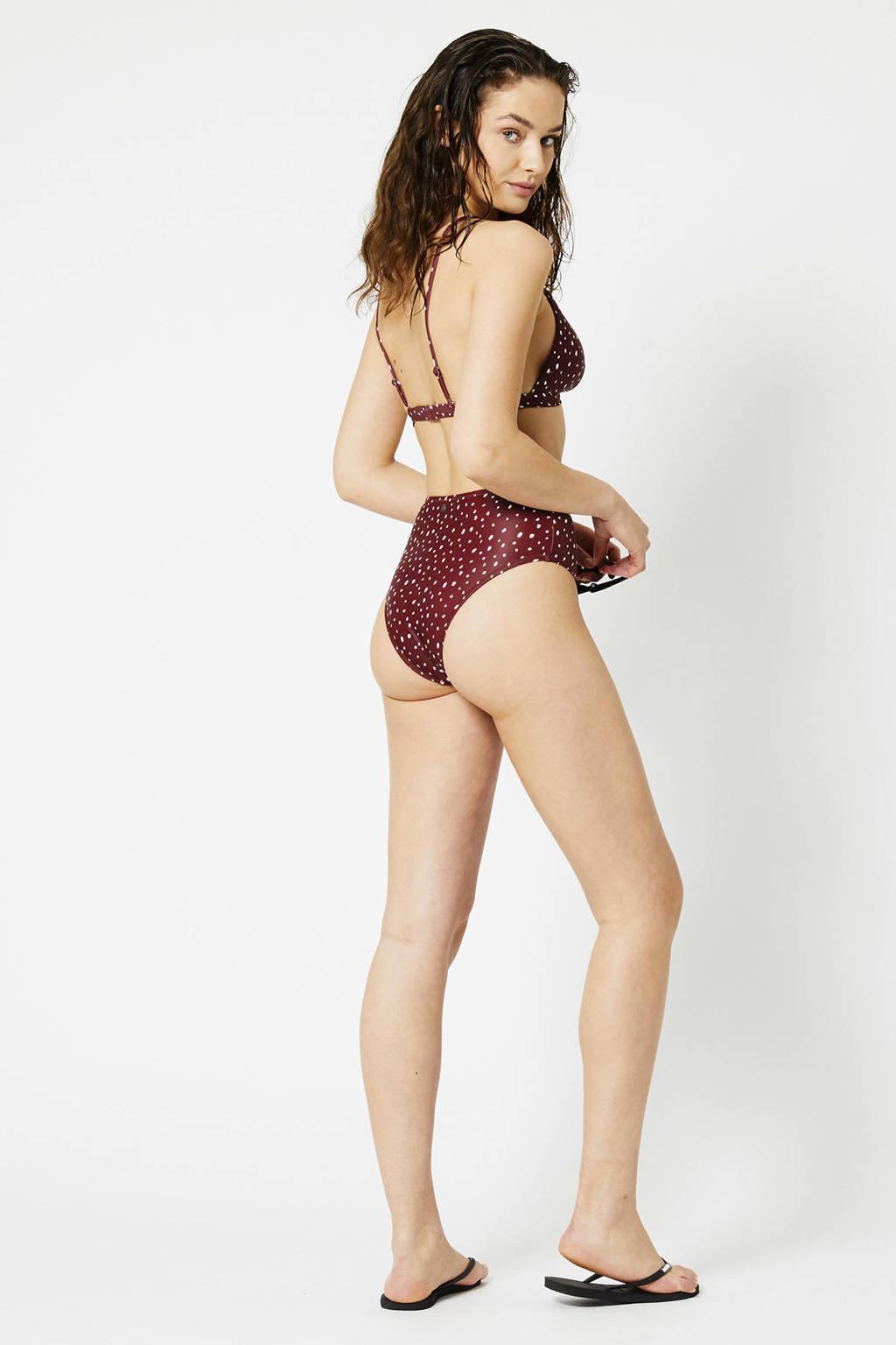 America Today high waist bikinibroekje Audrey met all over print brique/wit, Brique/wit