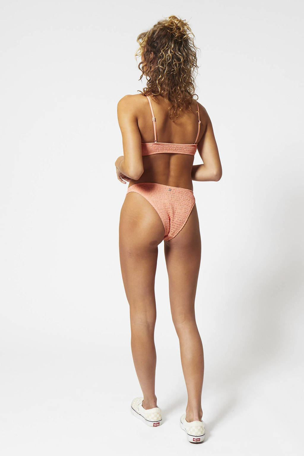 America Today high leg gesmockt brazilian bikinibroekje Addy zalmroze, Zalmroze