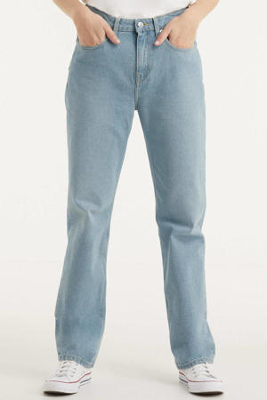 high waist straight fit jeans Relax Rose light denim