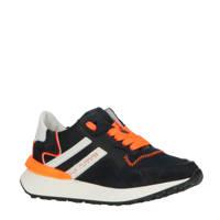 Hip H1715  leren sneakers blauw/oranje, Blauw/oranje