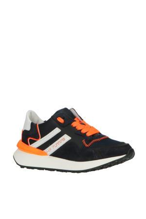 H1715  leren sneakers blauw/oranje