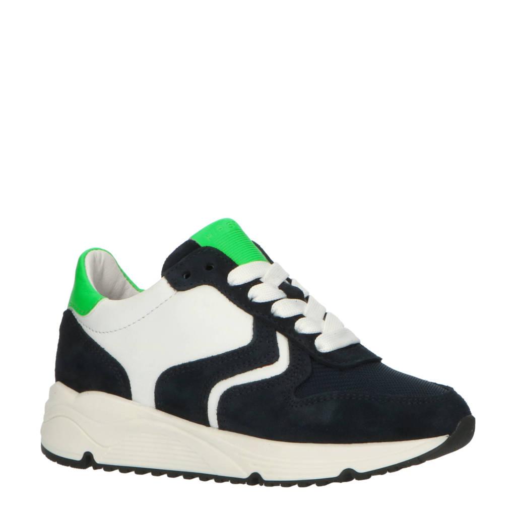 Hip H1797  leren sneakers donkerblauw, Donkerblauw/wit/neon groen