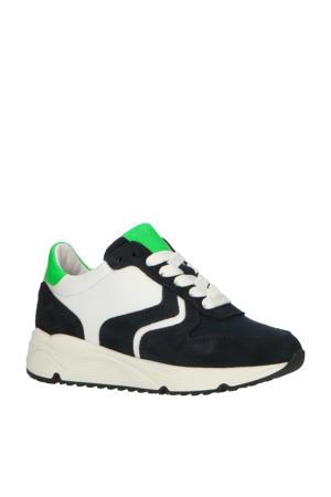 H1797  leren sneakers donkerblauw