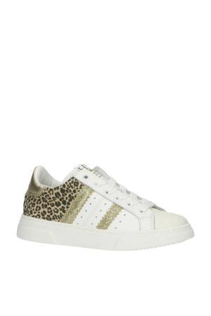 H1261  leren sneakers met panterprint wit/goud